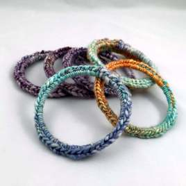 Bracelets with crocheted handspun