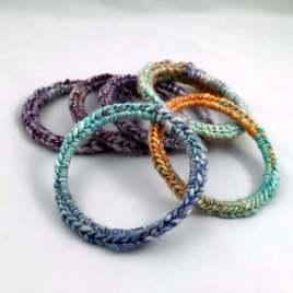 Bracelets with crocheted handspun